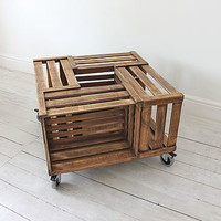 Crate Coffee Table On Castors With Brakes