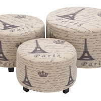 Wood Ottoman Set of 3 Handcrafted Accent Furniture