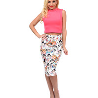 White Betty Boop High Waisted Stretch Pencil Skirt