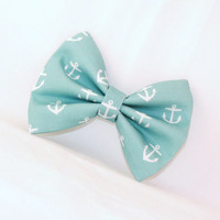 Hair Bow Teal with White Anchors Clip Rockabilly Pin up Teen Woman