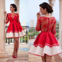 Long Sleeve Homecoming Dress, Short Red Long Sleeves Prom Dress