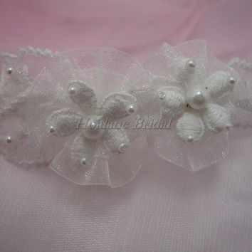 Flower Girl headband, pearl headband with lace flowers