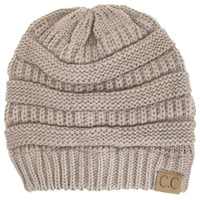Thick Slouchy Knit Oversized Beanie Cap Hat,One Size,Beige