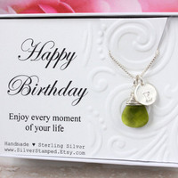 August birthstone initial necklace, green Swarovski teardrop peridot briolette crystal wire wrapped in sterling silver August birthday gift