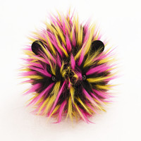 Hot Pink Yellow and  Black Spikey Faux Fur Stuffed Guinea Pig Plush Toy named Zena - Large Size