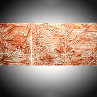 "ARTFINDER: triptych 3 panel wall art metallic finish copper white "" Copper Trance  "" antique effect 3 panel canvas wall abstract canvas 48 x 20"" by Stuart Wright - "" Copper Trance "" impasto antique effect copper..."