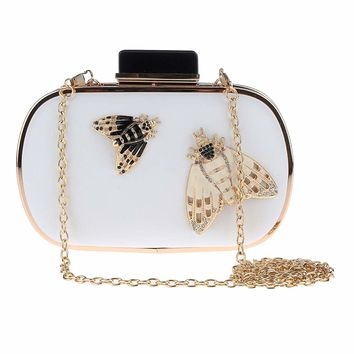 Prettyia Women's Crystal Honeybee Evening Bag Clutch with Removable Gold Chain