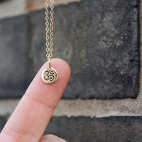 Tiny Om Necklace - yoga jewelry . bronze om, ohm charm & 14K gold-filled chain . simple, minimal charm jewelry . everyday wear . yoga gifts
