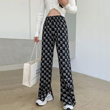 Letter Print High Waist Loose Knitted Pants