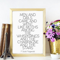 F. Scott Fitzgerald Great Gatsby party decoration Roaring 20s decor Black and White party decor.Fashion Great Gatsby champagne quote