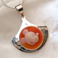 Disney Necklace Jewelry, Vintage Mickey Mouse, Cameo Pendant Necklace, Sterling Silver, OOAK, Birthday Gift for Disney Lover