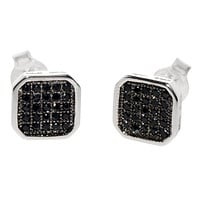 Mens Stud Earrings 925 Sterling Silver 8mm Rounded Square Black CZ