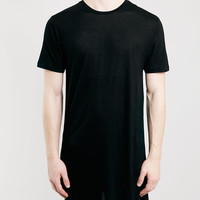 BLACK ASYMETRIC T-SHIRT - Topman