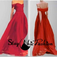 Red Off-the-Shoulder Ruffled Neckline Pleated Long Chiffon Formal Prom Dress, Juniors Red Ruched Sweetheart School Party Graduation Dress