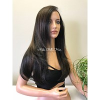 Brown Auburn Highlighted Human Hair Blend 360 Deep MULTI Parting SWISS Lace Front Wig -  Lima