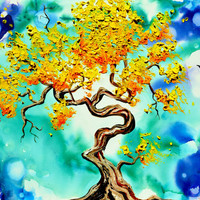 A Sunshine Tree Dream, Original Oil painting, Blue, turquoise, sky, Alcohol Ink Painting, thick oil paint