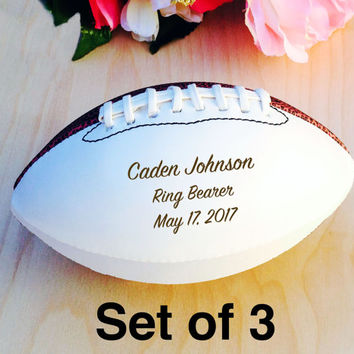 Ring Bearer Gift, Engraved Football, Mini Football, Groomsmen, Engraved Gift, Christmas Gift, Sports, Keepsake, Set of 3 balls, Design #3