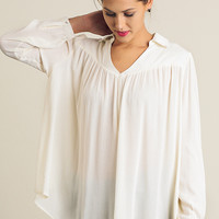 Collared Neck Tunic Blouse
