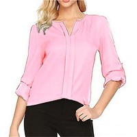 fhotwinter19 Hot selling hot style casual solid color V-neck chiffon shirt
