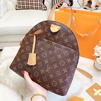 Louis Vuitton LV Fashion Woman Leather Handbag Tote Daypack Bookbag Shoulder Bag Backpack