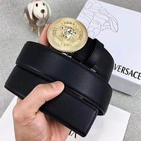 VERSACE Fashion Woman Men Circular Smooth Buckle Belt Leather Belt