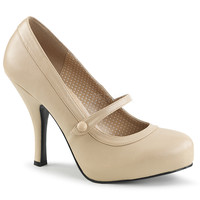 "Pin Up 01 Mary Jane Pump 4.5"" Heel Cream Leatherette"
