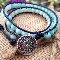 Double Wrap Beaded Bracelet with Black Leather and Amazonite