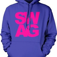SWAG Mens Sweatshirt, Sexy Bold Neon Swagger Pullover Hoodie, Small, Royal