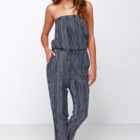 Running Lines Ivory and Navy Blue Striped Jumpsuit