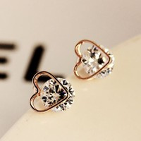 Gold Heart Trim On Rhinestone Earrings