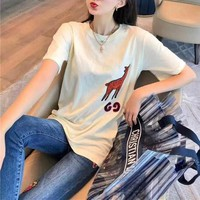 """Gucci"" Unisex Casual Fashion Fawn Letter Embroidery Couple Short Sleeve T-shirt Top Tee"
