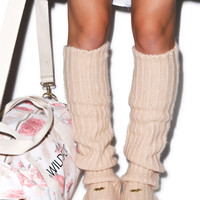 Wildfox Couture Loose Knit Leg Warmers Brown Egg One