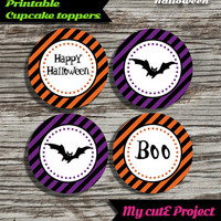 """Happy Halloween - Cupcake toppers - Instant Download - Party printable - Party favor - Candy Bar - 5 cm / 2"""" - Bat"""