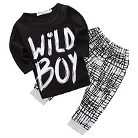 2017 Hot Newborn Infant Baby Boy Wild Boy T-shirt Tops and Leggings Pants Outfits Set Clothes