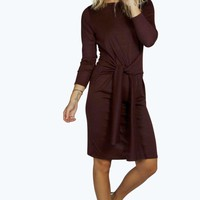 Kate Knitted Tie Front Midi Dress
