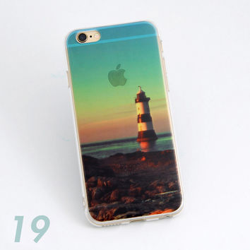 Beautiful Ocean Light House Scenery Print Soft TPU Transparent Phone Back Case Cover Shell For iPhone 5 5S 6 6s 6 Plus 6s Plus 7