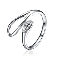 Zlyc Women's Delicate Sterling Silver Leaf Shape with Rhinestone Open Resizable Ring
