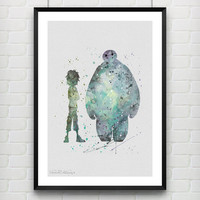 Hiro Hamada and Baymax Disney Watercolor Print, Big Hero 6 Watercolor Poster, Boy's Room Wall Art, Not Framed, Buy 2 Get 1 Free! [No. 34]