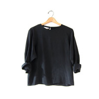 vintage silk shirt. boxy black blouse. long sleeve black silk shirt. cropped minimalist top.