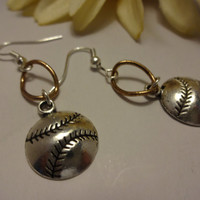 Sports Fans, Baseball Charm Earrings, Handmade Earrings, Jewelry