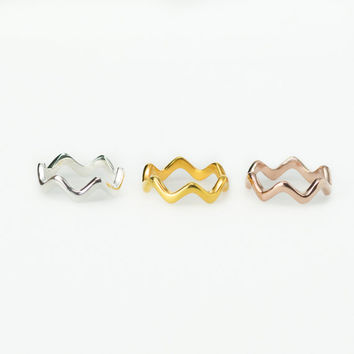 Solid Gold Wave Stacking Rings - Rose Gold, White Gold, Yellow Gold. 14K, 18K, or 22K Gold.