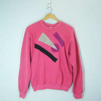 80s Vintage Abstract Sweatshirt, Pink Top, 1980s shirt, 80s Abstract Blouse, Pink Sweatshirt, Sweat Shirt, 1980s Top