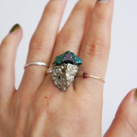 Peacock Ore // Pyrite Cocktail Ring // ASSEMBLAGE // adjustable band