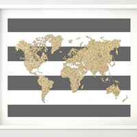 """Instant download 10x8"""" Printable world map, golden glitter map print, gold and stripes, gold printable poster, nursery wall art  pdf-map022"""