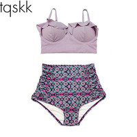 High Waist Swimsuit New Bikinis Women Push Up Bikini Set Plus Size Swimwear Vintage Retro Floral Bathing Suit Beach Wear XL