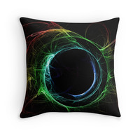 'Rainbow fractal' Throw Pillow by adiosmillet