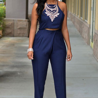 Navy Blue Silky Pleated Two Piece Pants Set