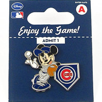 MLB Chicago Cubs Disney Pin - Mickey Leaning on Home Base