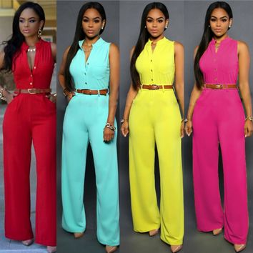 New single-breasted waist belt wide leg pants jumpsuit