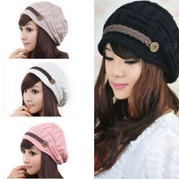 2014 Fashion Buttons curling beanie hats womens and girl gorras hat bonnet gorro Beanies winter hats for women Knit cap beanie gorros woman female girls hiphop outdoors wool cap Letter Beanie Warm ski Sport knitted hat caps = 1958104452